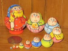 Russian tiny HAND PAINTED nesting doll family 10 miniature Matrioschka Rooster
