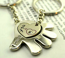 FD515 Rhinestone Hearts With Head Love Romantic Couple Keychain Key Ring ~2pcs~~