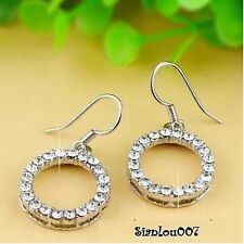 Silver Tone Clear Diamonte / Diamante Circle Dangling Drop Earrings - NEW!!