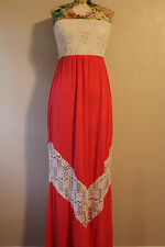 Rachel Kate Brand Strapless Coral Lace Maxi Dress Size Small Made in the USA