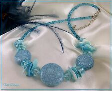 BLUE SHELL, FLAT BEAD, GLASS SEED BEAD & FACETED CLEAR BEAD NECKLACE (12)