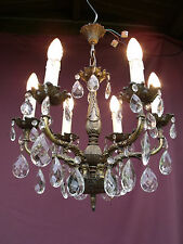@ VINTAGE FRENCH 6 LIGHTS BRONZE CHANDELIER WITH GLASS CRYSTAL DROPS  MAGNIFIQUE