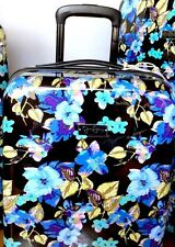 """Jessica Simpson 26"""" Suitcase Glossy Black Aqua Blue Floral Hard Side Spinner NWT"""