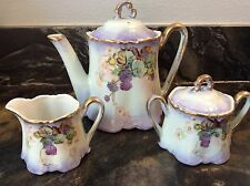 Vintage 5-Piece Handpainted Coffee/Tea Pot, Sugar And Creamer Set Bavaria
