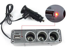 3 IN 1 Way Car Cigarette Lighter Power Spliter With 1 USB Port 3 way expander