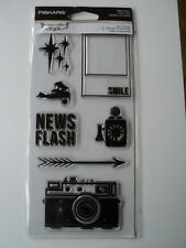 FISKARS TERESA COLLINS CLEAR STAMPS - RETRO FLASH BNIP *LOOK*