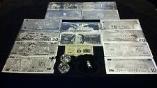 ~7 WHITE GOLD BANKNOTES$1-$100+SILVER COIN/FLAKE&SILVER BAR FREE SHIPPING IN U.S