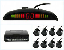 Car LED Front And Rear Parking Radar Sensor System With 8 Black Sensors & Drill