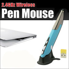 BLUE 2.4G PR-06 Optical Usb Wireless Pen Mouse Mice For PC Draw Teaching Design