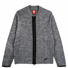 NIKE TECH KNIT BOMBER SIZE L LARGE JACKET GREY HEATHER BLACK 810558-065