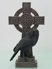 Black Northern Raven Perching On Celtic Tribal Cross Figurine Statue Black Crow