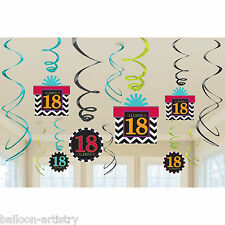 12 Assorted Celebrate 18 In Style 18th Birthday Party Hanging Swirls Decorations