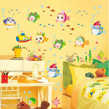 Underwater World Fish Bubble Wall Stickers Art Decal Mural for Kid's Room Decor