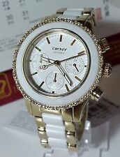 NIB DKNY NY8830 GOLD AND WHITE CERAMIC STAINLESS STEEL BRACELET WOMEN'S WATCH