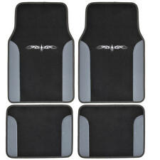 Car Floor Mats Carpet Tattoo Design 2 Tone Color Liner 4 Piece Gray Black
