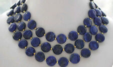 New 10mm Coin Blue Lazuli Lapis Egyptian Necklace 36 INch