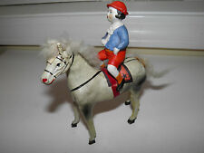 Antique German Papier Mache Stick Leg Horse With Bisque Porcelain Rider Figurine