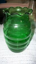 Vintage Large Ribbed Ruffled Forest Green Glass Vases Anchor Hocking 6 3/4""