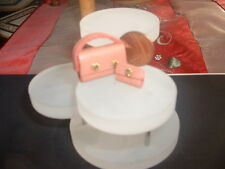 Dolls house miniature handbag and purse in coral leather
