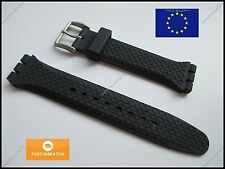 Top Quality Rubber 19mm 22mm Strap fits Swatch Chrono Irony Sistem51 +FREE PINS