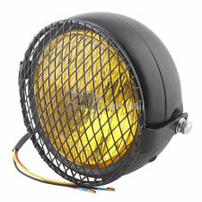 "6.3"" Grill Retro Classic Motorcycle Side Mount Headlight Bobber Old school Amber"