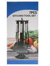 Non Stick Plastic 7 Pcs Kitchen Tool Utensils Set With Stand-Black Silver Chrome