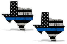 "Police Support Blue Lives Matter Texas Subdued USA Flag Sticker BLM Decal 4"" 2pk"