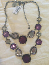"NWT INC  Hematite Metal Purple Stone Jeweled Necklace 16-21"" Double Layered GIFT"