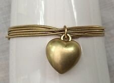 NEW - Gold Metal Stranded Bracelet with Heart Charm - Glam, Evening