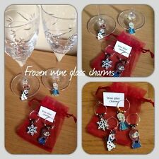 Frozen Wine Glass Charms With Organza Gift Bag