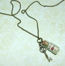 *Steampunk style Love Potion bottle/vial & Key antique bronze Necklace/Pendant*