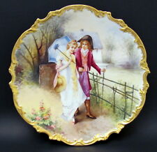"""Antique HP Large 13"""" Limoges Lovers Portrait Charger Plate Signed Early 1900s"""