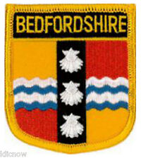 """Bedfordshire County (Shield) Embroidered Patch 6CM X 7CM (2 1/2"""" X 2 3/4"""")"""