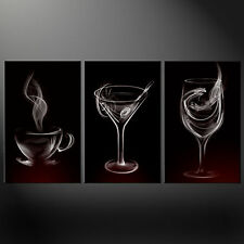 SMOKE DRINKS GLASSES KITCHEN DESIGN CANVAS PRINT PICTURE WALL ART FREE UK P&P