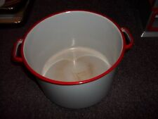 vintage red and white enamled cooking pot great decore or for use ok condition