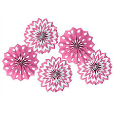 PINK POLKA DOT CHEVRON PAPER FAN DECORATIONS (5) ~ Birthday Party Supplies Girl