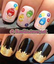 NAIL ART SET 473 PEANUT SWEETS FIGURE WATER TRANSFERS/DECAL/STICKERS & GOLD LEAF