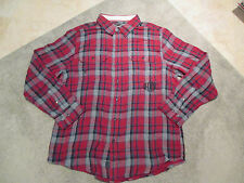 Harley Davidson Long Sleeve Button Up Flannel Shirt Adult Extra Large Red Black