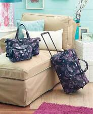 3 Pc Trendy Luggage Set BLACK PAISLEY Rolling Suitcase Duffel Tote Bag & Clutch