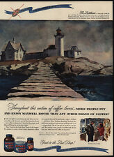 1947 LIGHTHOUSE Art By ANDREW WINTER - MAXWELL HOUSE Coffee - VINTAGE AD