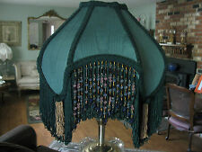 "Victorian French Med Princess Lamp Shade ""Forest"" Fringe And 5"" Beads"