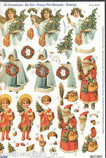 PRECUT CHRISTMAS ANGEL  PAPER TOLE DIMENSIONAL GERMANY CARD  ORNAMENT COLLAGE