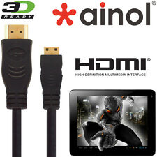 Ainol Novo 7, 10, Venus, Spark, Hero Tablet HDMI Mini to HDMI TV 2.5m Gold Cable