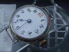 Trench Swiss Deco WW1 era silver watch 1915 project watchmaker VGC pin set