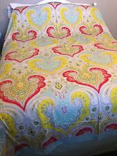 Echo King Size Duvet Cover Jaipur Indian Paisley Red Yellow Green Reverse 106x96