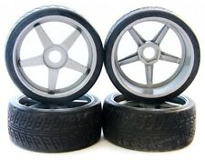 Kyosho Inferno GT2 VE BL * SILVER INFERNO GT WHEELS & 17mm HEX BLACK TIRES *Rims