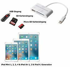 3in1 Camera Connection Kit per Apple iPad Mini 1/2/3/4 USB MICRO SD SCHEDA SD