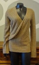 ISDA & CO Brown Loose Knit Wool Alpaca V Neck Wrap Style Sweater - Medium NEW