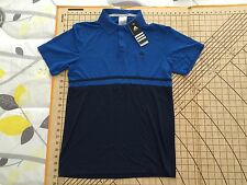 MENS VERY SMALL FITTED ROYAL BLUE/NAVY BLUE ADIDAS POLO SHIRT - NWT