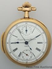Scarce 18k Gold Timing & Repeating watch c0. Swiss Antique Chronograph Pocket